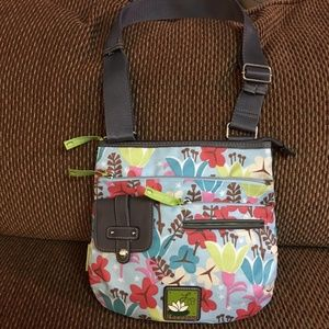 LILY BLOOM  Floral Pattern Nylon Messenger